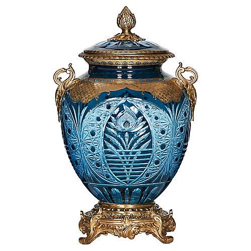 "16"" Cut-Glass Jar, Blue/Gold"