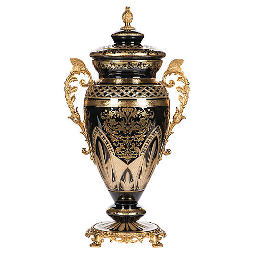 """19"""" Cut-Glass Jar, Black/Gold"""