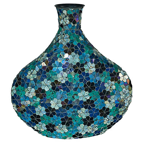 "17"" Mosaic Vase, Blue/Black"