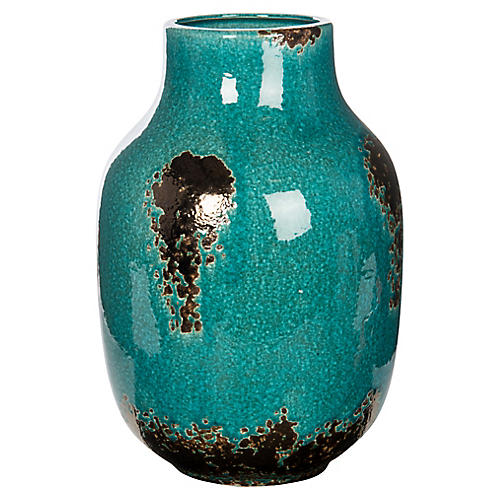 "13"" Globe Vase, Teal/Bronze"