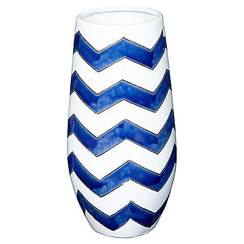 """16"""" Chervon Vase, Blue/White"""