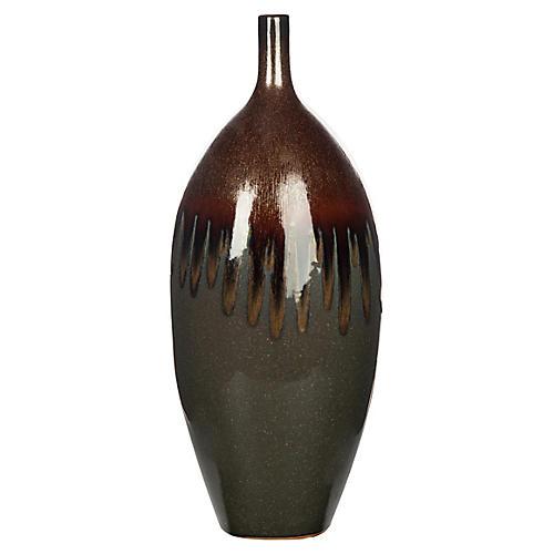 """17"""" Drusa Vase, Cinnamon"""