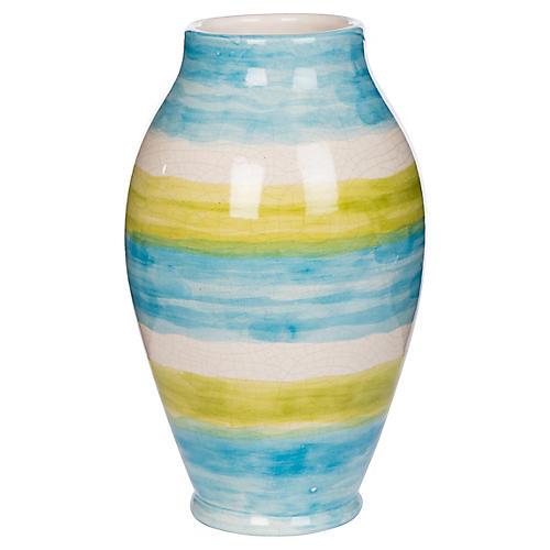 """14"""" Watercolor Vase, Aqua/Lime"""