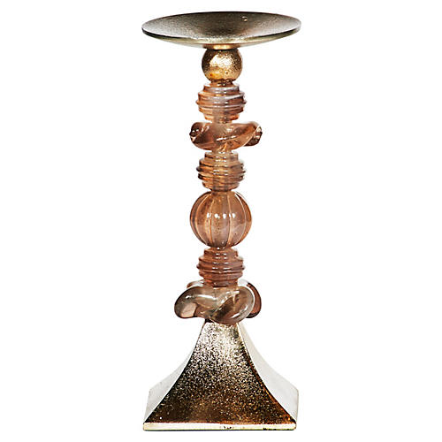 Hazelwood Candlestick, Rose Champagne