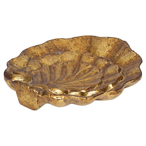 """7"""" Ferrara Leaf Tray, Antiqued Gold"""
