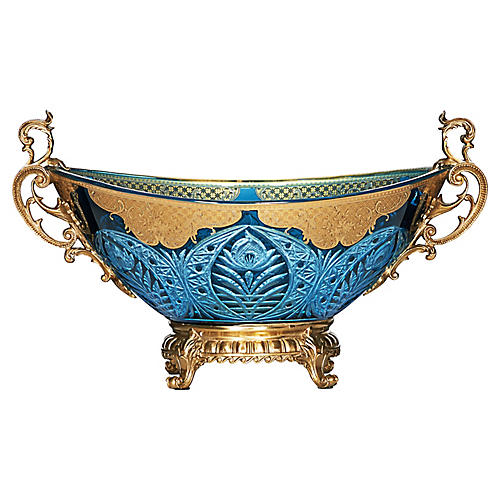 "14"" Capitola Chiseled Bowl, Blue/Gold"