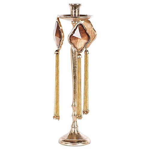 Fresno Tassel Candlestick, Rose Gold/Rose