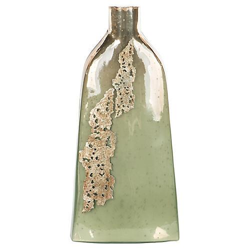 Vantage Vase, Celadon/Silver