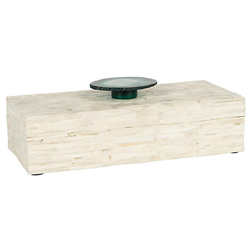 "12"" Vista Bone Box, Cream/Green"