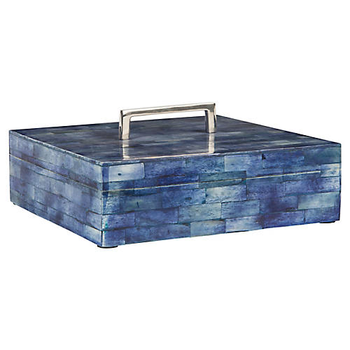 "10"" Brick Bone Box, Blue/Nickel"