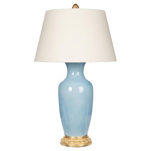 Aventine Table Lamp, Light Blue/Gold