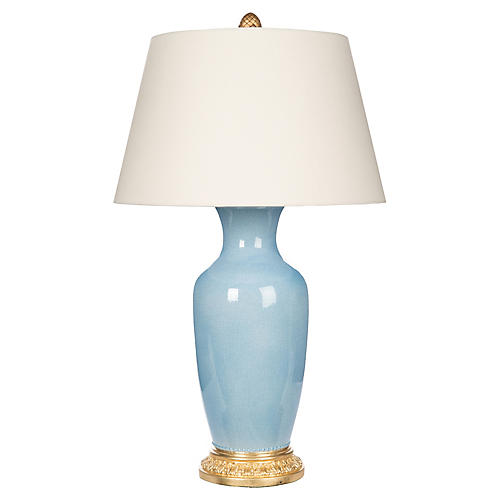 Aventine Table Lamp, Light Blue/Gold