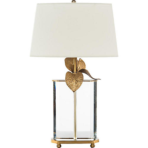 Cymbidium Table Lamp, Crystal/Brass