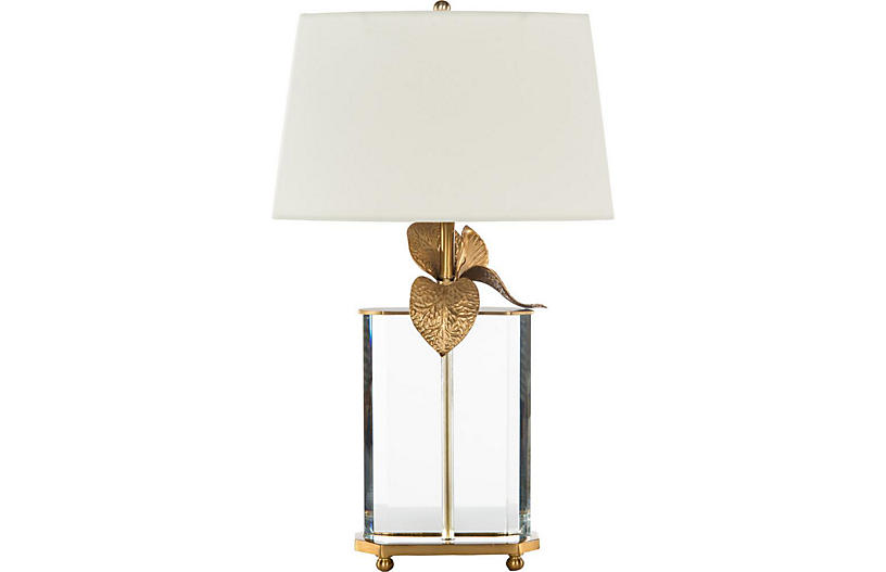 Cymbidium Table Lamp, Crystal/Brass