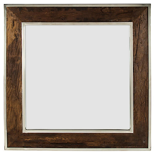 Distressed Wall Mirror, Brown/Silver