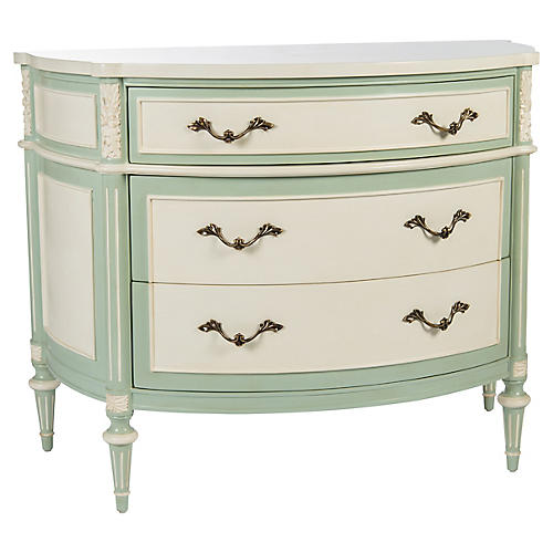 Birch Commode, Mint/Cream