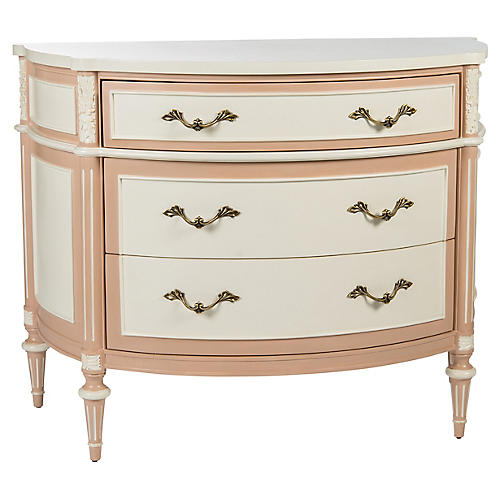 Birch Commode, Pink/Cream