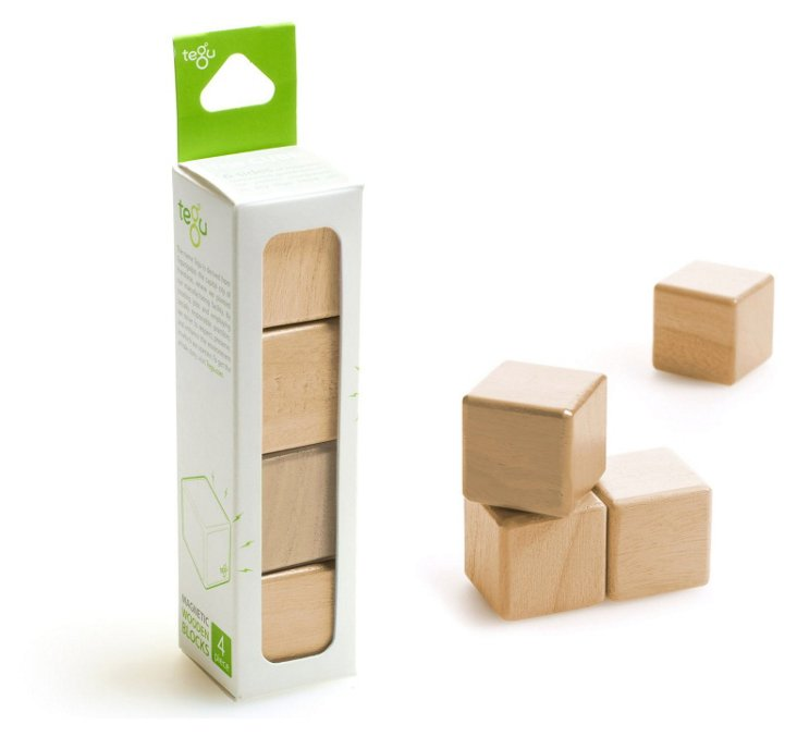 4-Piece  Magnetic Wooden Blocks, Natural