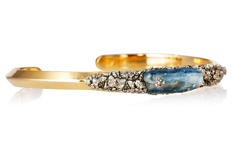 Gold-Plated Cuff w/ Kyanite & Pyrite