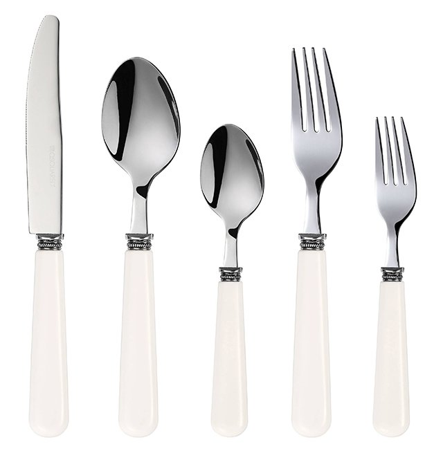 20-Pc Melamine Flatware Set, White