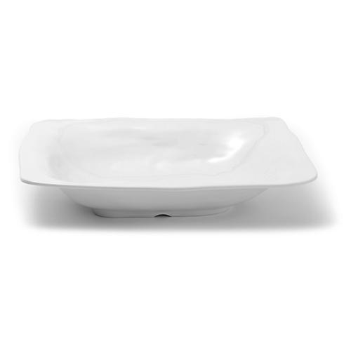 Melamine Ruffle Shallow Serving Bowl, White