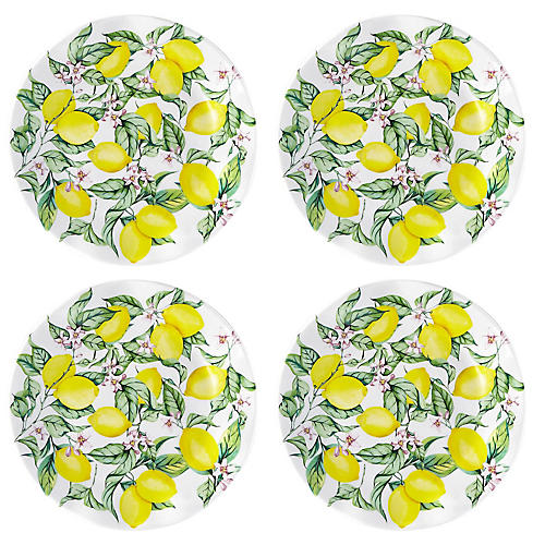 S/4 Limonata Melamine Salad Plates, Yellow
