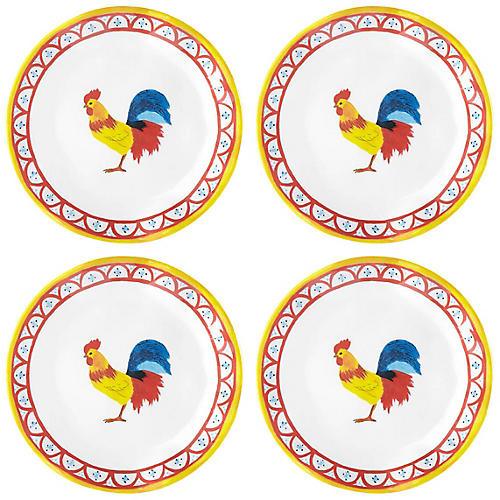 S/4 Porto Chalé Melamine Bread Plates, Red