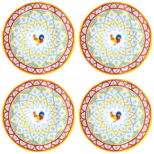 S/4 Porto Chalé Melamine Dinner Plates, Red