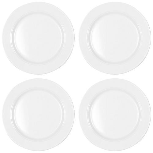 S/4 Diamond Round Melamine Salad Plates, White