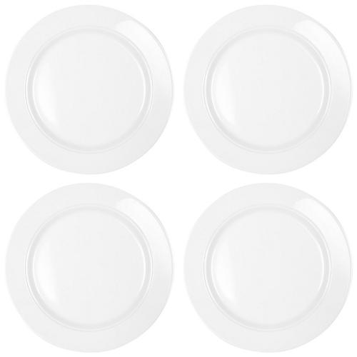 S/4 Melamine Diamond Round Dinner Plates, White