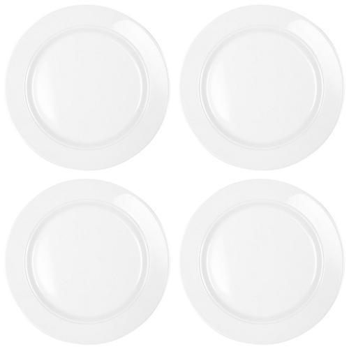 S/4 Diamond Round Melamine Dinner Plates, White