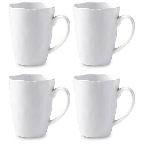 S/4 Ruffle Melamine Coffee Mug, White