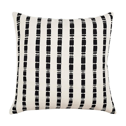 Santiago Grid 18x18 Pillow, Black/White