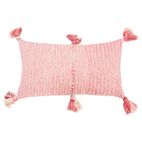 Antigua 12x20 Lumbar Pillow, Pink/White