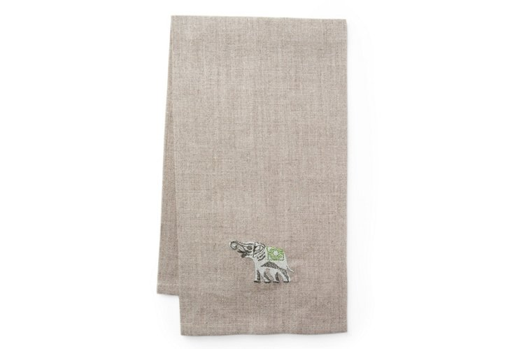 Flax Elephant Towel, Dark Platinum/Green