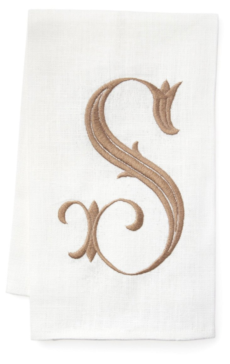 French Monogram Towel, Doeskin/White