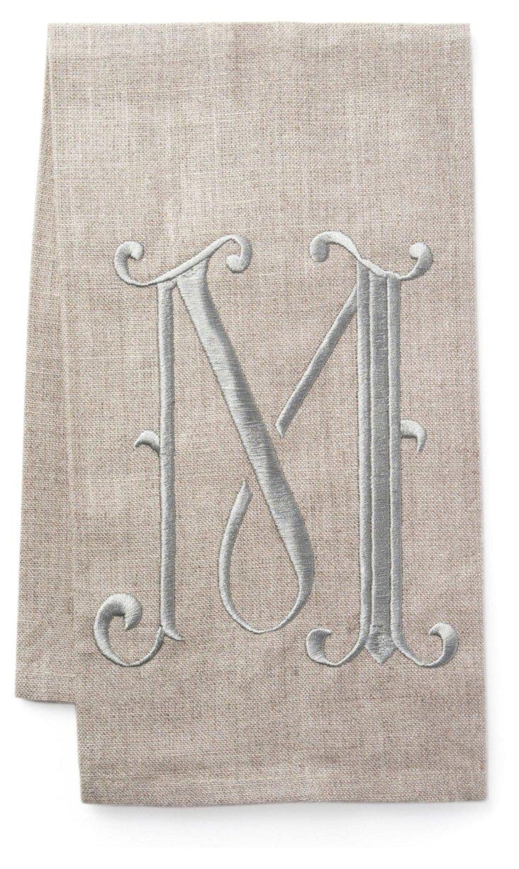French Monogram Towel, Platinum/Flax