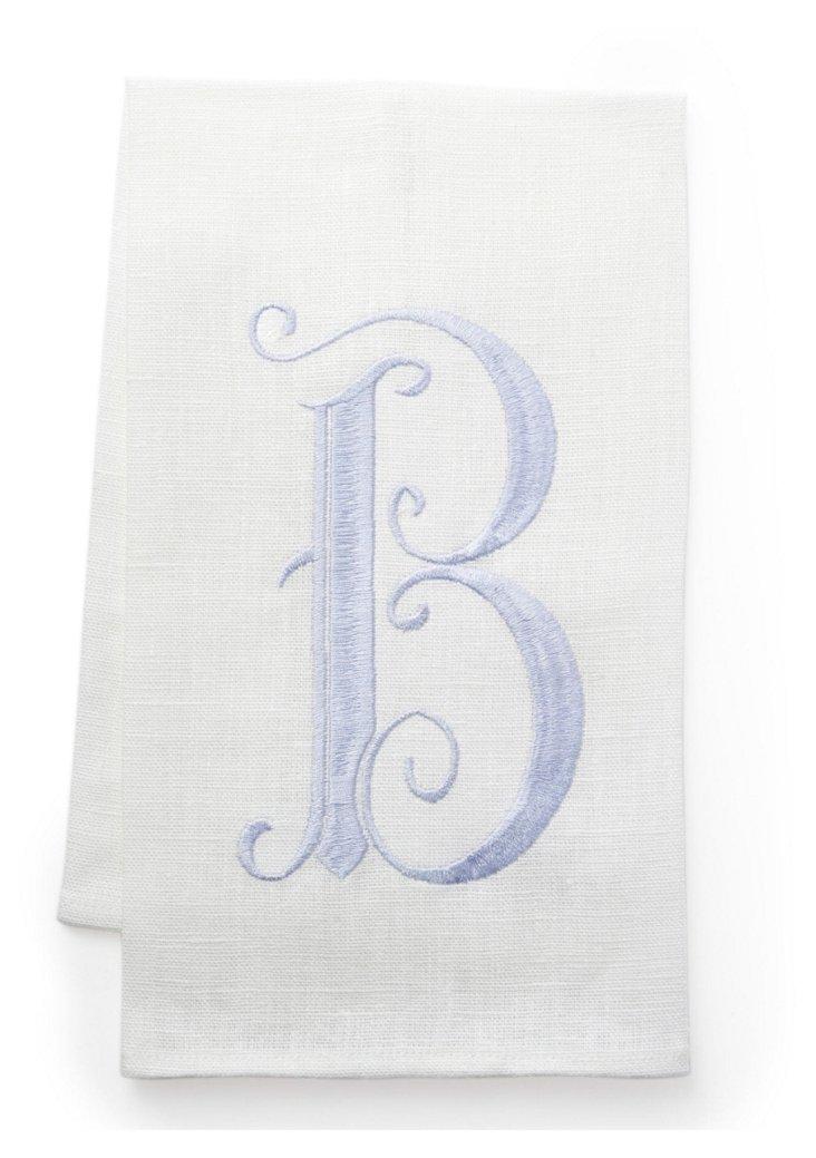 French Monogram Towel, Ice Blue