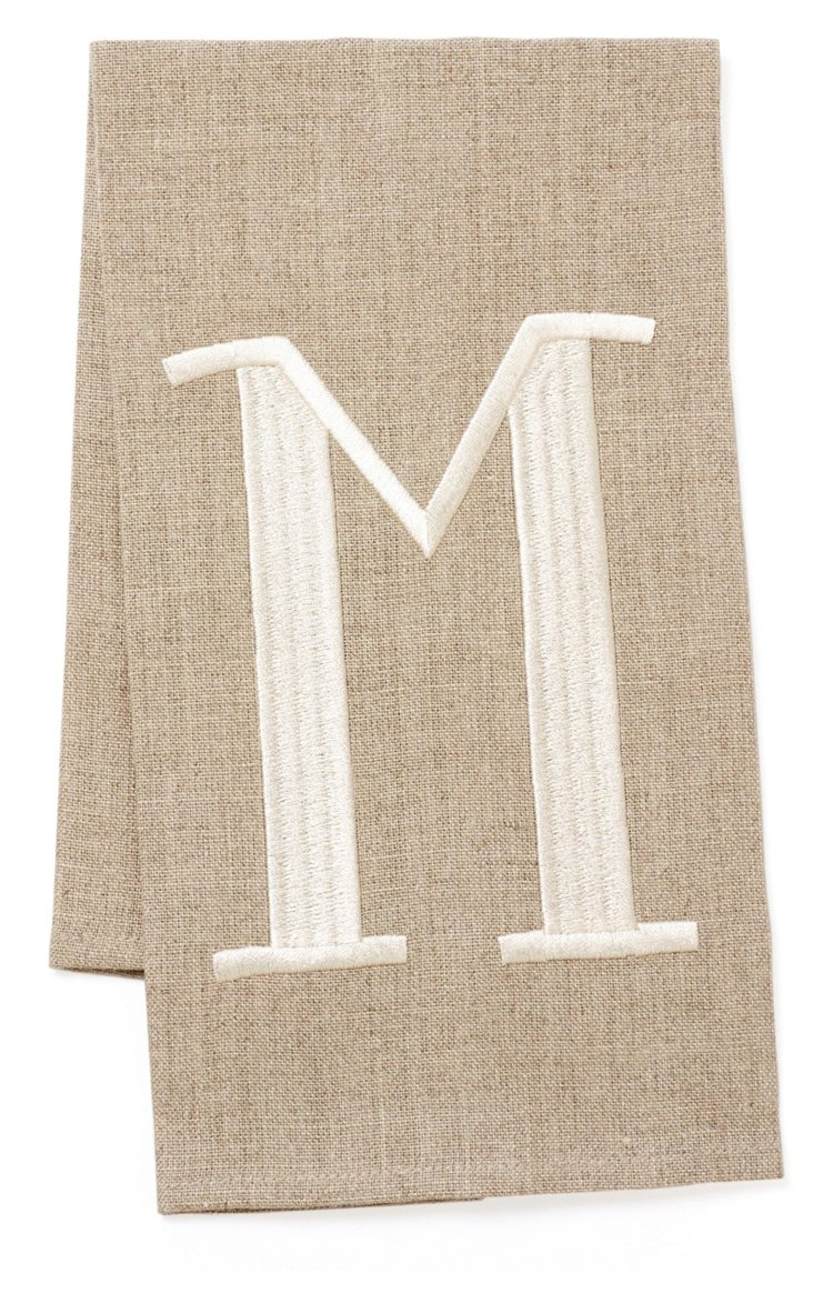 Flax Monogram Guest Towel, Cream