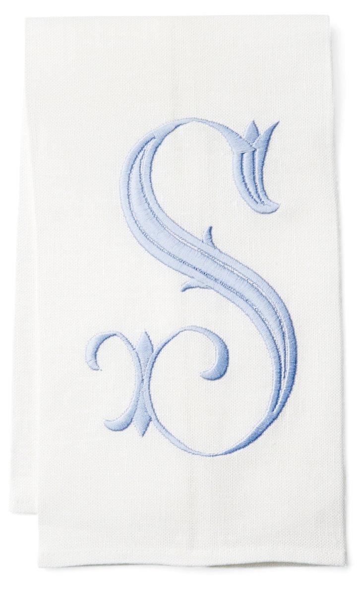 French Monogram Scallop Towel, Sky/White