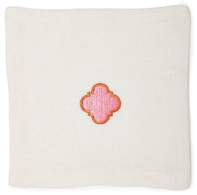 Quatrefoil Sachet, Pink/Orange