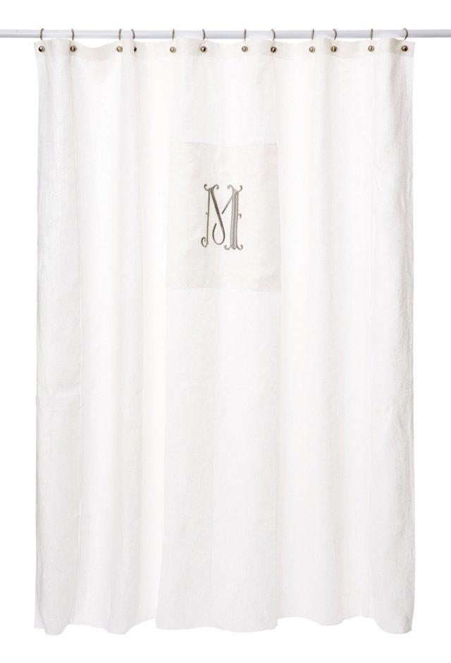 French Monogram Curtain, Platinum/White