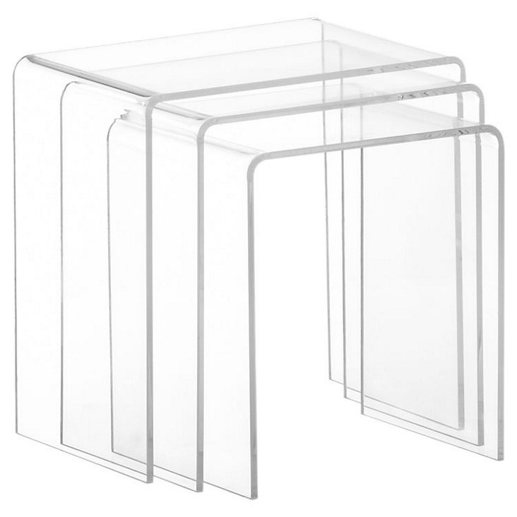 Clear Bea Nesting Tables, Set of 3
