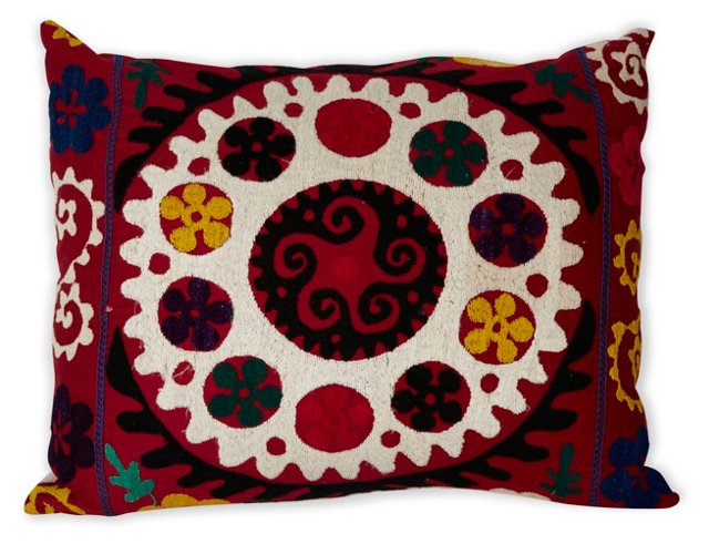Suzani Pillow, White Center