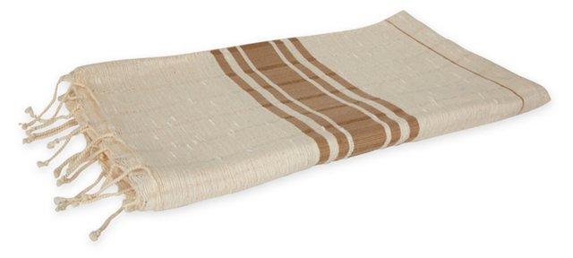 Turkish Hammam Towel, Tan Stripe