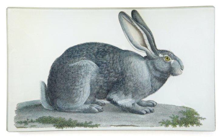 Hand-Decoupaged Rabbit  Tray, Gray