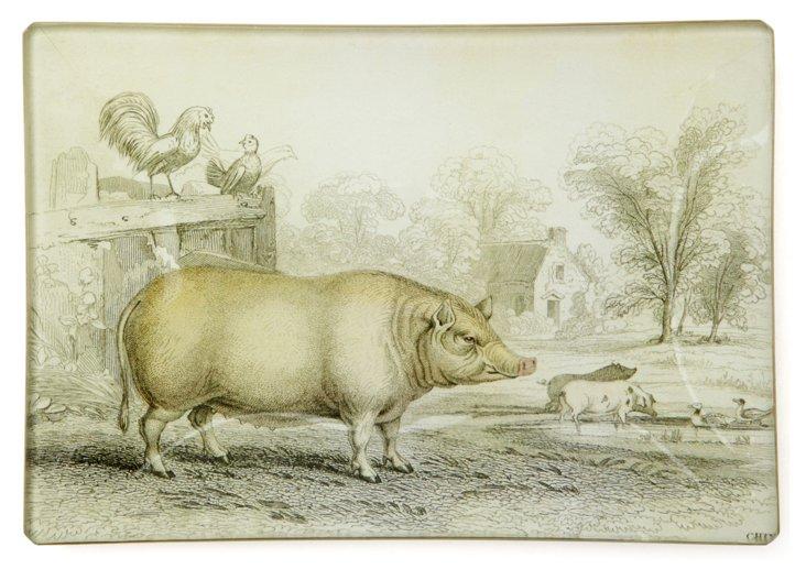 5x7 Pig in Barnyard Tray
