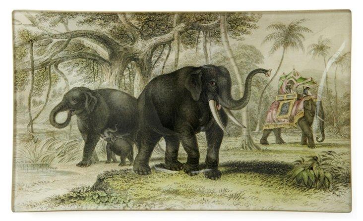 Hand-Decoupaged Elephant  Family Tray