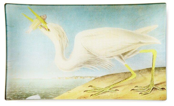 Hand-Decoupaged Great White Heron Tray