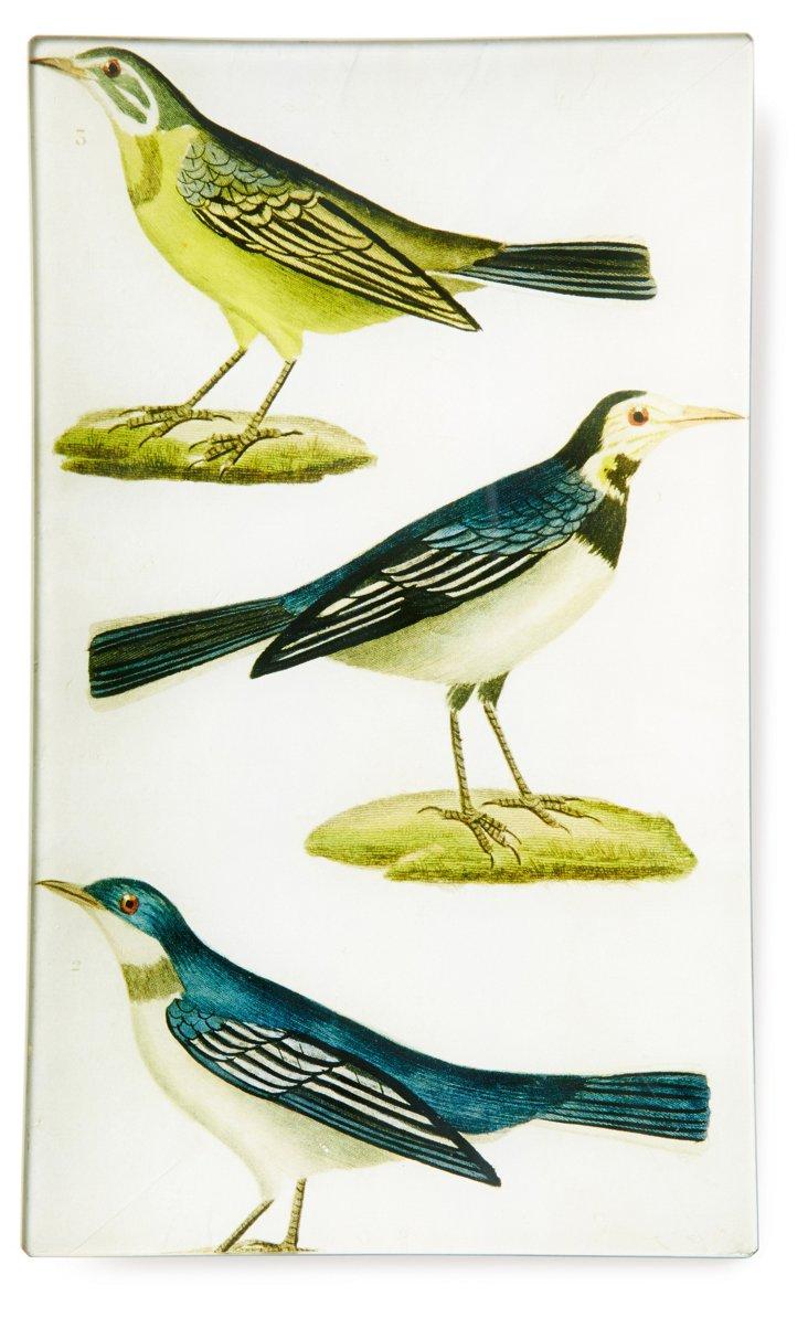 Hand-Decoupaged Blue Birds Tray